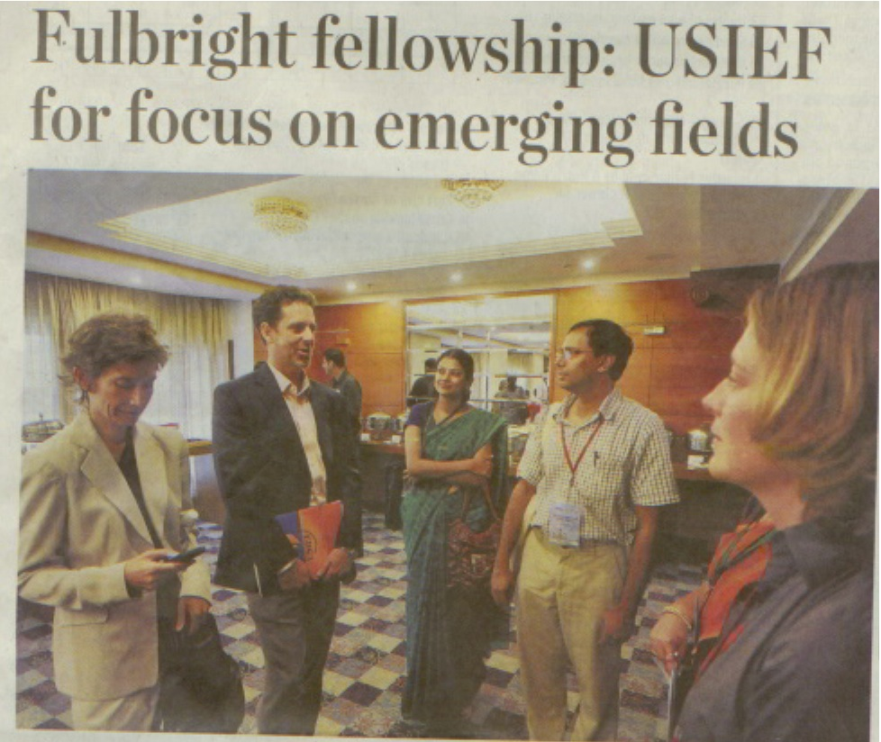 Newspaper article on Fulbright press conference that I co-addressed