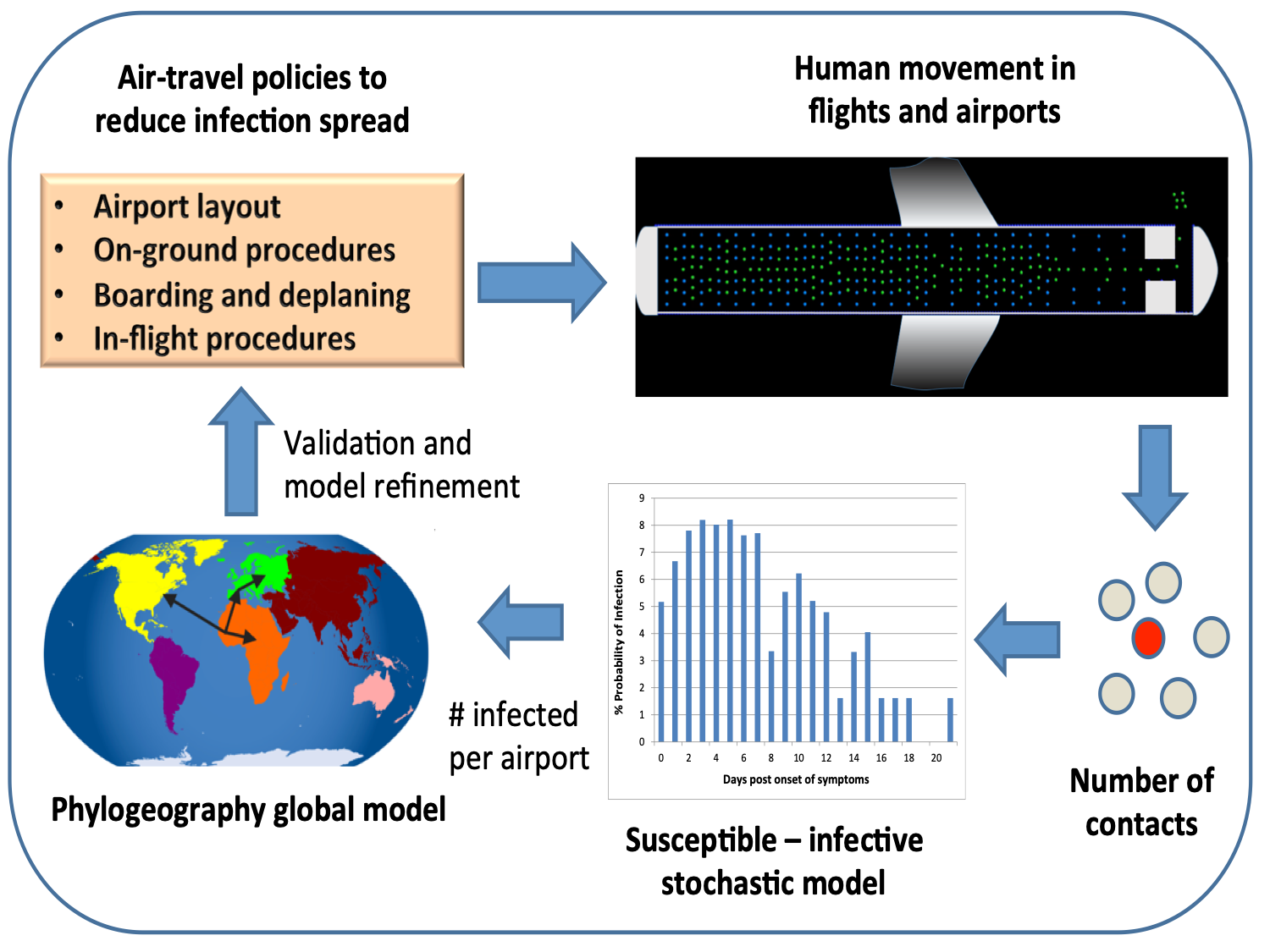 Pedestrian dynamics for directly transmitted diseases